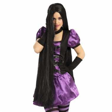 1 meter lange damespruik zwart haar