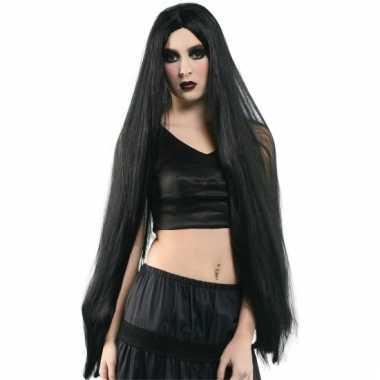 1 meter lange pruik zwart haar