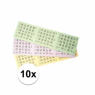 10 blokken met bingokaarten 1-75