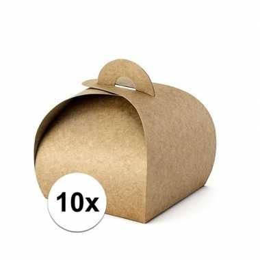 10 bruine bonbon doosjes 8,5 cm