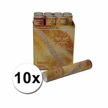 10 gouden confetti shooters 30 cm