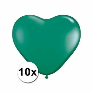 10 groene harten ballonnen 15 cm
