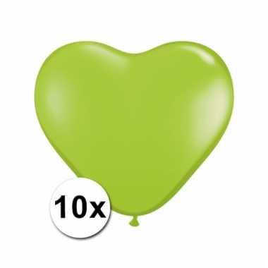 10 limegroene harten ballonnen 15 cm