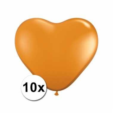 10 oranje harten ballonnen 15 cm