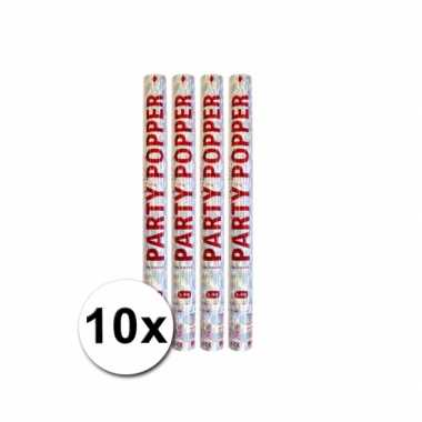 10 party poppers zilver