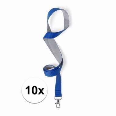 10 polyester keycords blauw/grijs 50x2 cm