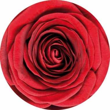 10 ronde onderzetters met rode roos