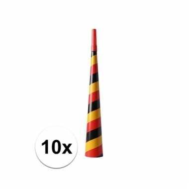 10 stuks feesttoeters rood/geel/zwart