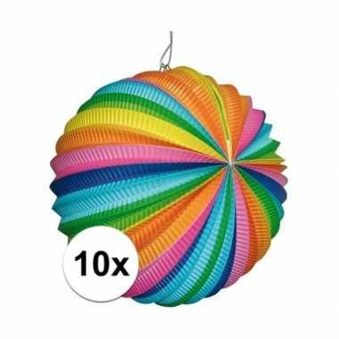 10 stuks gekleurde lampionnen rond