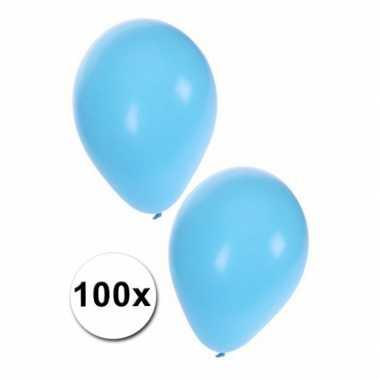 100 feest ballonnen licht blauw