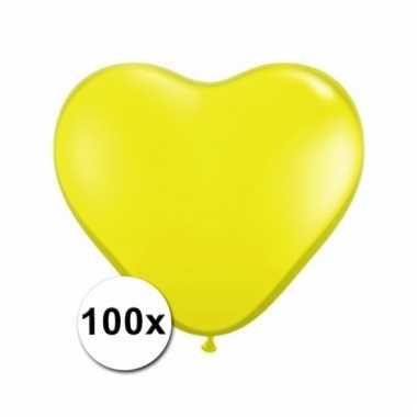100 gele harten ballonnen 15 cm