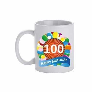 100 jaar cadeau beker 300 ml ballon thema