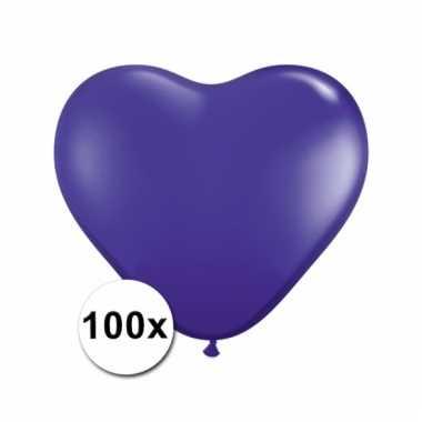 100 paarse harten ballonnen 15 cm