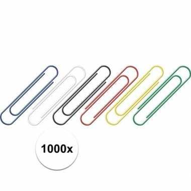 1000 stuks gekleurde paperclips 26 mm