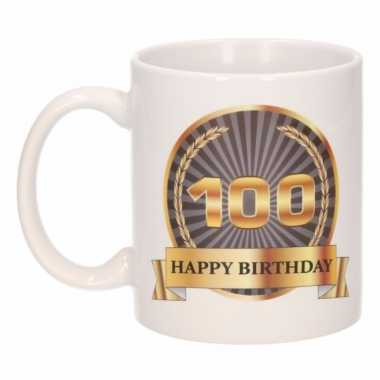 100e verjaardag koffiemok / beker 300 ml