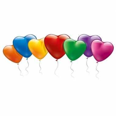 100x hartvormige gekleurde ballonnen