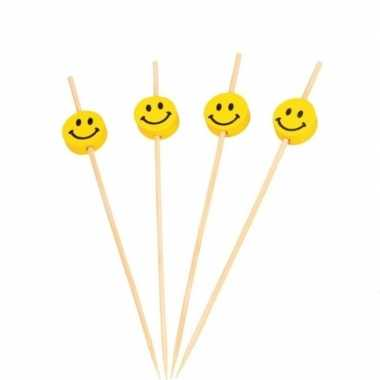 100x smiley thema cocktailprikkers 12 cm