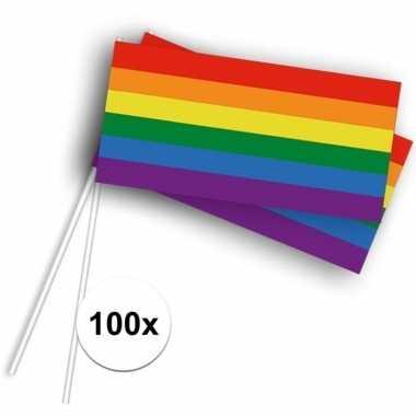 100x zwaaivlaggetjes/handvlaggetjes met regenboog