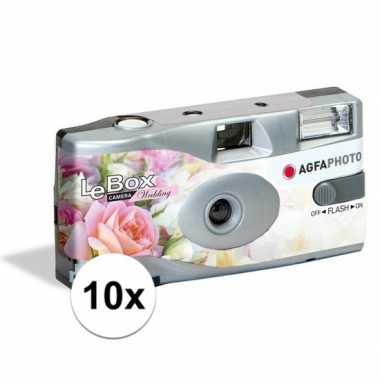 10x bruiloft wegwerp cameras met flitser voor 27 kleuren fotos