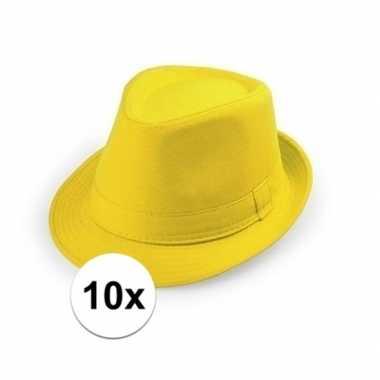 10x carnaval maffia hoedje geel voor volwassenen