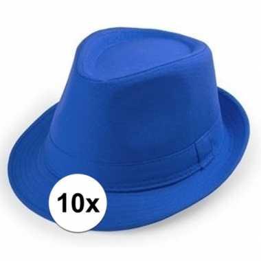 10x carnaval maffia hoedje kobalt voor volwassenen