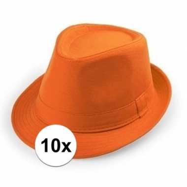 10x carnaval maffia hoedje oranje voor volwassenen
