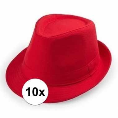 10x carnaval maffia hoedje rood voor volwassenen