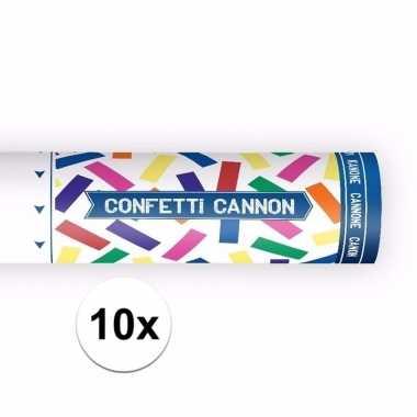 10x confetti popper kleuren mix 20 cm