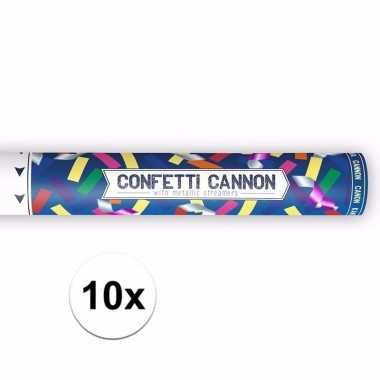 10x confetti popper kleuren mix 40 cm pakket