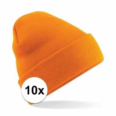 10x dames winter muts oranje