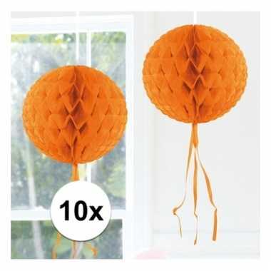 10x decoratiebollen oranje 30 cm