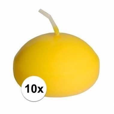 10x drijfkaarsen geel 4,5 cm