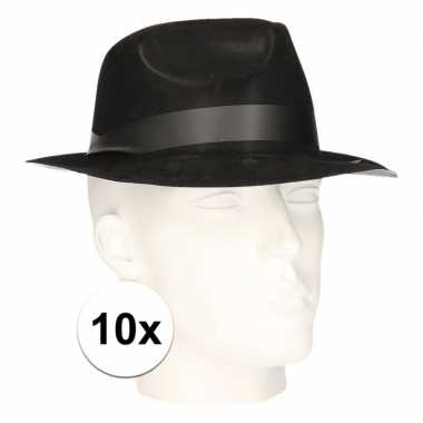 10x gangster/maffia gleufhoedjes voor volwassenen