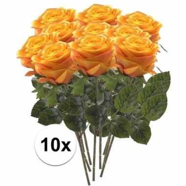 10x geel/oranje rozen simone kunstbloemen 45 cm