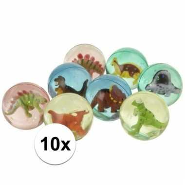 10x gekleurde dinosaurus stuiterbal