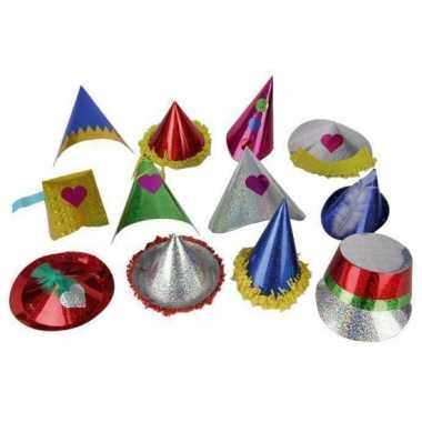 10x gekleurde papieren feesthoedjes