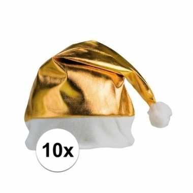 10x goedkope kerstmutsen in het goud