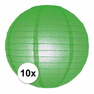 10x groene bol lampionnen van 25 cm