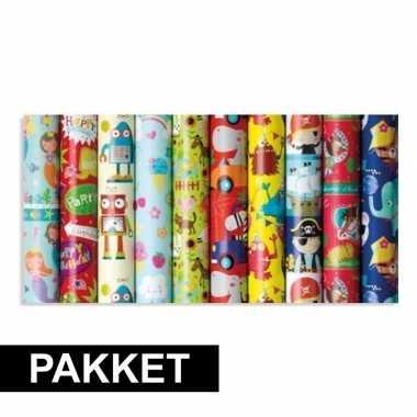 10x inpakpapier rollen voor kinderen met verschillende prints