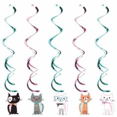10x katten/poezen thema rotorspiralen hangdecoratie