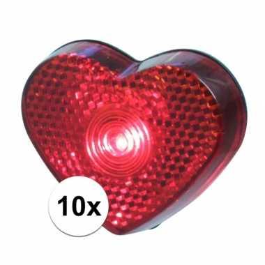 10x liefdes lampje rood hart 5 cm