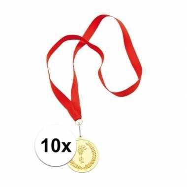 10x medailles goud gekleurd