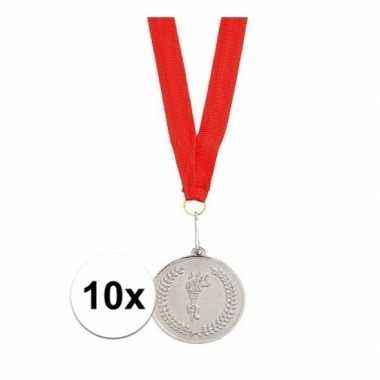 10x medailles zilver gekleurd met halslint