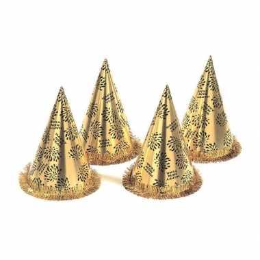 10x nieuwjaars hoedjes goudkleurig
