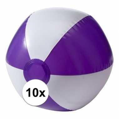 10x opblaasbare speelgoed strandballen paars