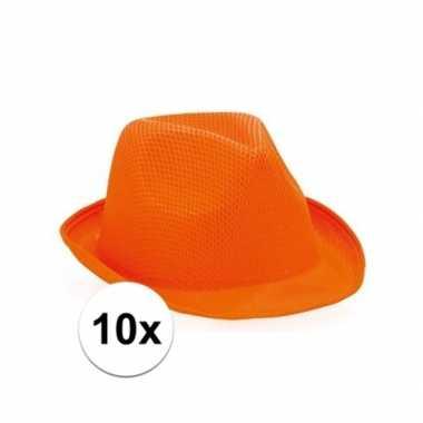 10x oranje trilby hoeden