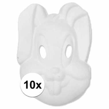 10x papier mache masker konijn/haas