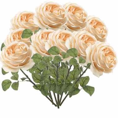 10x perzik roze rozen kunstbloemen 66 cm