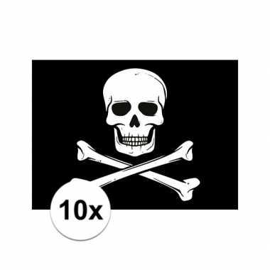 10x piraten thema stickers 7.5 x 10 cm