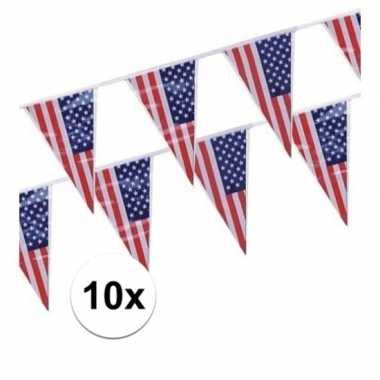 10x plastic vlaggenlijn/slingers amerika/usa